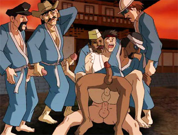 Gay hentai clips: A group of hot gay anime studs in gangbang action